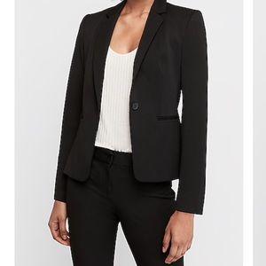 Express Black Notched Collar One Button Blazer 2